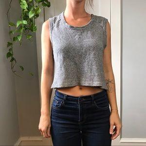 A.L.C. Grey Sleeveless Sweatshirt Crop Shirt Top